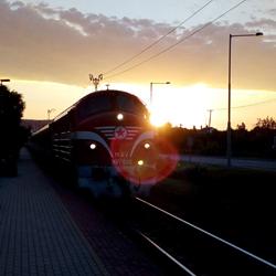 NOHAB a csopaki állomáson hajnalban